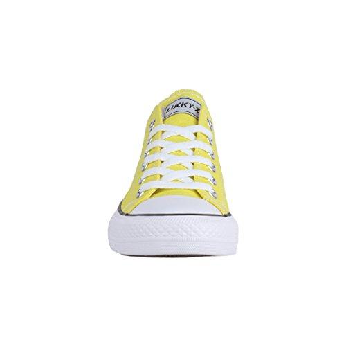 Gelb Unisex Schuhe Turnschuh Damen Sportschuhe Top Bequeme 36 Textil und Low Sneaker 46 Herren Elara für ZqFxdw7Zv