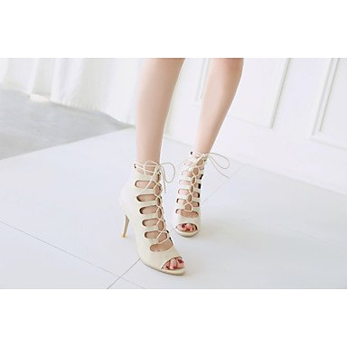 WSX&PLM Da donna-Stivaletti-Formale Casual Serata e festa-Comoda Alla schiava Club Shoes-A stiletto-PU (Poliuretano)-Nero Beige , us10.5 / eu42 / uk8.5 / cn43