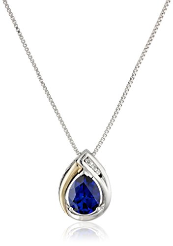 Sterling Silver and 14k Yellow Gold Created Blue Sapphire  and Diamond-Accent Tear Drop Pendant Necklace, 18""