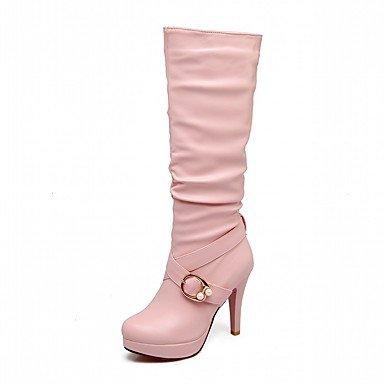 RTRY Zapatos De Mujer De Piel Sintética Pu Novedad Moda Otoño Invierno Confort Botas Botas Stiletto Talón Puntera Redonda Rodilla Botas Altas Hebilla Parte &Amp; US7.5 / EU38 / UK5.5 / CN38