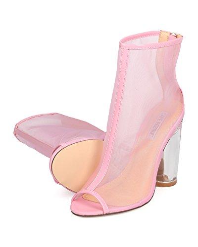 Costume Lucite Bootie Dressy ROBBIN Heel Night Bootie Women Date GC99 Heel by Sheer CAPE Pink Block qCtzXwC