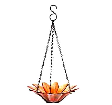 Hanging Colored Glass Bowl Bird Feeder Garden Home Accent 1p