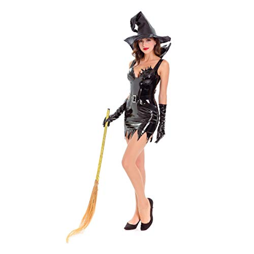 YaXuan Devil Witch Costume Sexy Patent Leather Women's Halloween/Carnival / Festival/Holiday Halloween Costume Black Solid Color/Halloween (Color : Black, Size : -