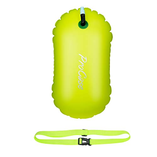 ProCase Swim Buoy Float, Swimming Bubble Safety Float with Adjustable Waist Belt for Open Water Swimming, Safe Swim Training, Triathletes, Kayaking, Snorkeling -Neon Yellow