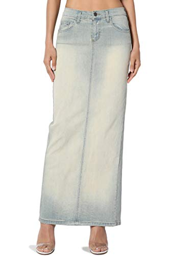 TheMogan Women's Mid Rise Back Slit Pencil Long Maxi Denim Skirt Light 0