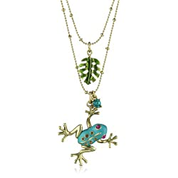 Betsey Johnson Teal and Gold Frog Pendant Necklace Two-Row Necklace