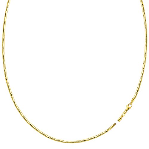 Diamond Cut Omega Chain Necklace With Screw Off Lock In 14k Yellow Gold, 1.5mm -