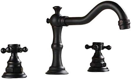 Zxyan 蛇口 立体水栓 バスルームのシンクは、ホットとコールド流域の蛇口、洗面台スロット付き浴室の洗面台のシンクホットコールドタップミキサー流域の真鍮のシンクの全銅アンティークブラックブロンズスリーホールダブルハンドルシャワーをタップ トイレ/キッチン用