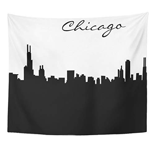 (Semtomn Tapestry Artwork Wall Hanging Illinois Black and White Chicago City Silhouette Designs Skyline 50x60 Inches Tapestries Mattress Tablecloth Curtain Home Decor)