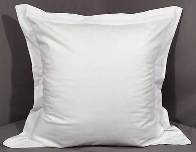 Scala Bedding Real 450 Thread Count 2PCs Pillow Sham White Solid Soft Single-Ply Egyptian Cotton Made in India (Euro/Square(26 x 26 Inch + 2'' Flange))