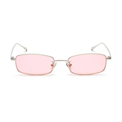 MINCL/Unisex Small Rectangle Sunglasses Red lens Yellow Metal Frame Clear Lens Sun Glasses - Small Sunglasses Rectangle
