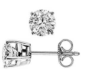 2.00 carat ct 2 carat Round Diamond Stud Earrings J-L Color, SI2 Clarity; 14k White or Yellow Gold; Push Back/Friction Back
