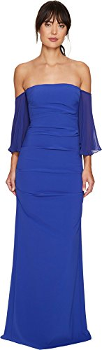 Nicole Miller Women's Techy Crepe Pleated SLV Ruched Gown, Blueberry/Baby, 6