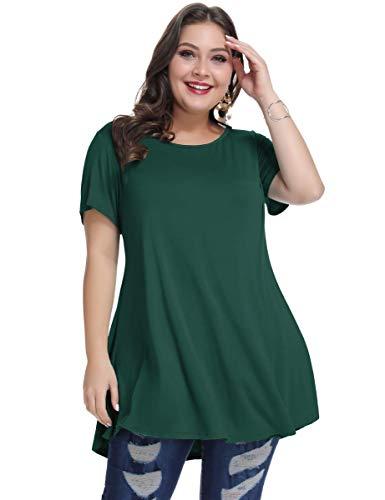 MONNURO Womens Short Sleeve Casual Loose Fit Flare Swing Tunic Tops Basic T-Shirt Plus Size(Dark Green,1X) (T-shirt Crewneck Short Solid Sleeve)