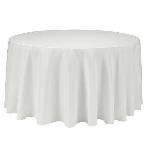 - Remedios 120-inch Round Polyester Tablecloth Table Cover - Wedding Restaurant Party Banquet Decoration, Ivory