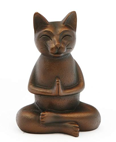 Buddha Groove Namaste Cat Statue in Antique Bronze Finish