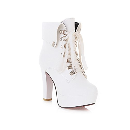 Platform Heels A White Soft Chunky Boots amp;N Bandage Womens Material XqxIwZT