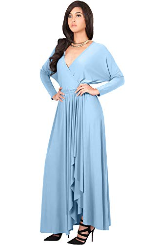 KOH KOH Plus Size Womens Long Sleeve Sleeves Wrap Slit Split Formal Fall Winter Cocktail Sexy Flowy Evening Day Abaya Gown Gowns Maxi Dress Dresses, Powder Light Blue 3XL - 3 Wrap Size Dress Plus Sleeve 4