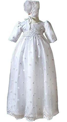 Michealboy Heirloom Christening Dress Baptism Embroidered Shamrocks Tulle Gown & Bonnet White ()