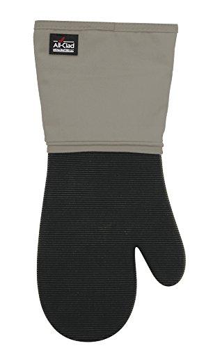 All-Clad Textiles Professional 600-Degree Stain Resistant Cotton Silicone Oven Mitt with No-Slip Grip, Titanium