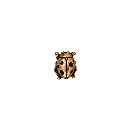 (TierraCast Ladybug Bead, 10.25mm, Antique 22K Gold Pleated Pewter, 4-Pack )