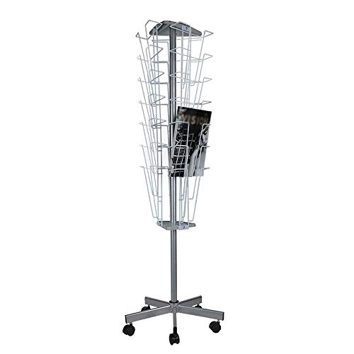 - HLWAWA Rotary Floor Display Standing Portable Literature Rack for Magazines, Spinning, Tiered