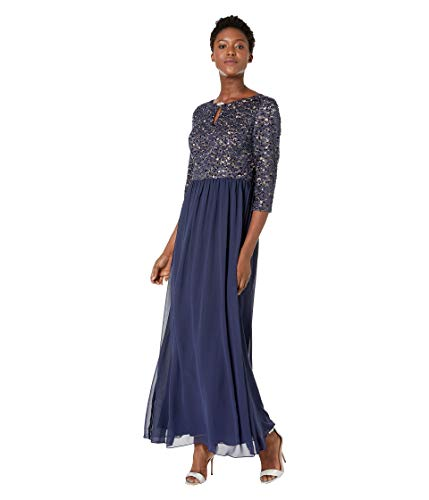 Alex Evenings Women's Long Lace Top Empire Waist Dress, Navy/Nude, 16