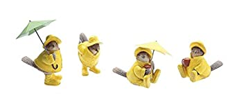 Resin Birds In Yellow Raincoats Set Of 4 Styles Country Home D