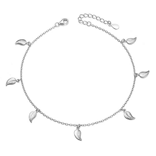 - S925 Sterling Silver Simple Charm Foot Ankle Bracelet Adjustable Leaf Anklet for Women Girl Jewelry Birthday Gift