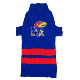 Kansas Jayhawks Pet Dog sweater LG 20-24″ long Blue, My Pet Supplies