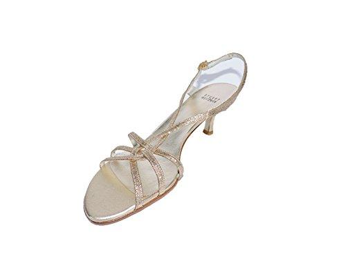 Stuart Weitzman Womens Zone Sand Mini Glitter Gold Open-Toe Sandals Slingback Size 7.5 (Stuart Weitzman Gold Sandals)