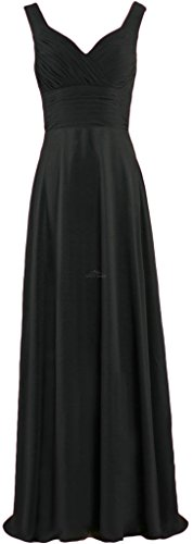 ANTS Long Straps Dresses Bridesmaid Formal Straight Pleated Homecoming Black Prom vtr5vwq