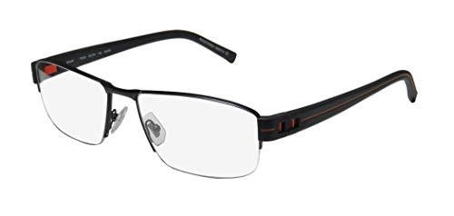Oga By Morel 7926o For Men Designer Half-rim Flexible Hinges Prestigious Hot High-end Eyeglasses/Eye Glasses (58-18-140, Black/Orange) (New Fashion Brillen Frames)