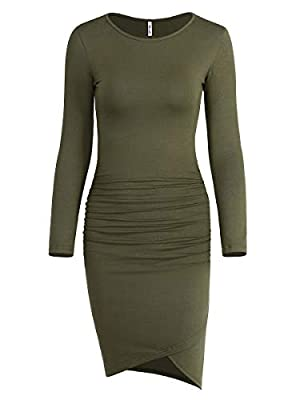 Missufe Women's Casual Ruched Bodycon Sundress Irregular Sheath T Shirt Dress