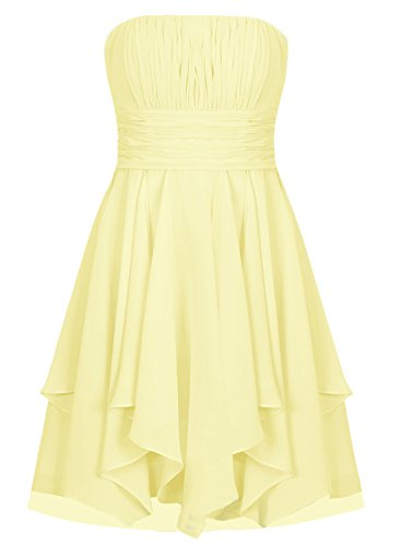 Ruffles ASBridal Pleated Dreses Dress Yellow Short Homecoming Chiffon Bridesmaid Skirt XRfXq6