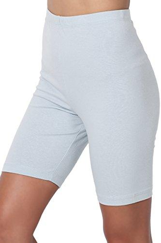 TheMogan Women's Mid Thigh Cotton High Waist Active Short Leggings Ash Blue S