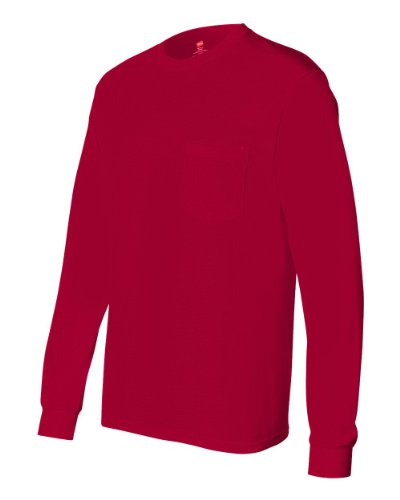 Hanes TAGLESS 6.1 Long Sleeve with Pocket (Pack of 1) Size:Medium Color:Deep Red (Double Pockets Long Sleeve)