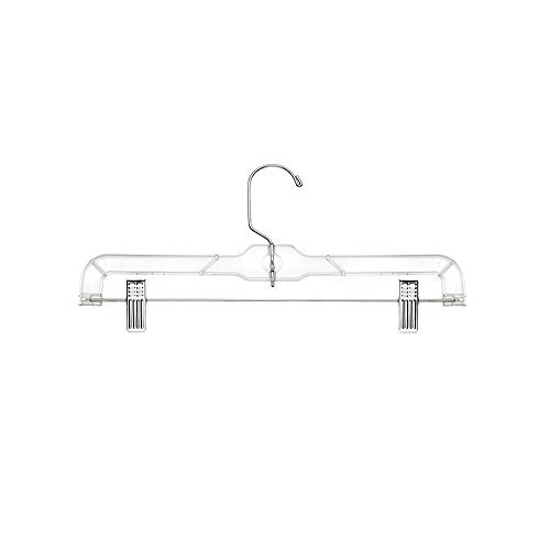 Crystal Skirt / Slack Hangers with Pants Clips and Metal Hook, 12 Pack, Clear, by Bovado USA by Bovado USA