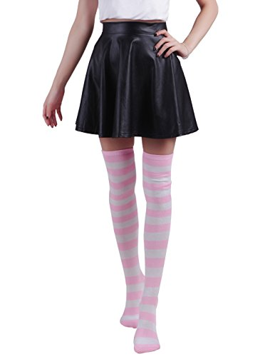 HDE Womens Striped Opaque Stockings