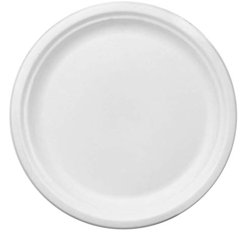 100% Compostable White 10-inch Paper Plates, 75-Plates, Heavy-Duty Premium Quality Disposable Plate ()