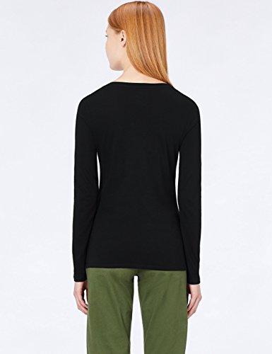 shirt Donna Manica T white Meraki V black A Beauty Scollo Nero Lunga 17w05q