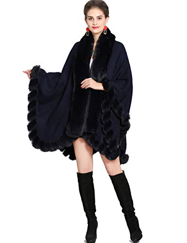 Aphratti Knit Wrap Scarf Shawl Cape with Luxury Rex Rabbit Faux Fur Collar Without Arm Slits One Size Navy