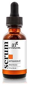 ArtNaturals Vitamin C Skin Serum - Organic Anti-Aging with Hyaluronic Acid & Vit E - Helps Repair and Reduce Dark Circles, Age Spots, Wrinkle & Sun Damage - Enhanced 20% Top Vitamin-C Super Strength - 1 Oz 29 ml