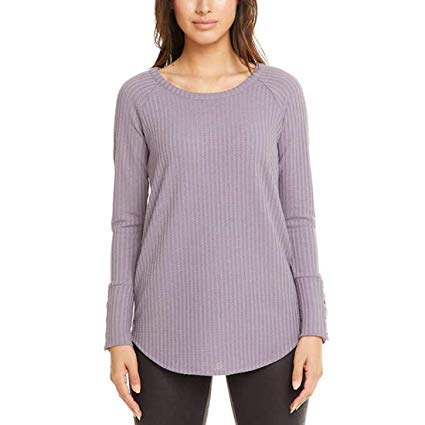 CHASER Ladies' Long Sleeve Waffle Thermal Tunic Sweater Top (Small, Purple)