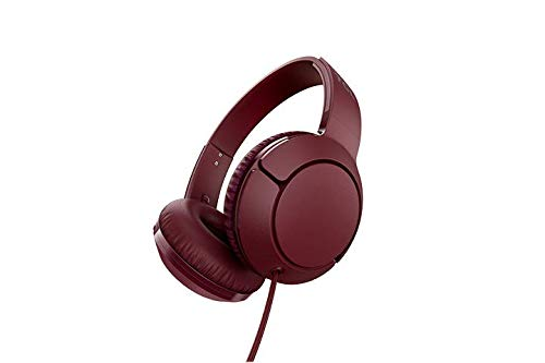 TCL MTRO200 On-Ear Wired Headphones with Built-in Mic – Burgundy Crush