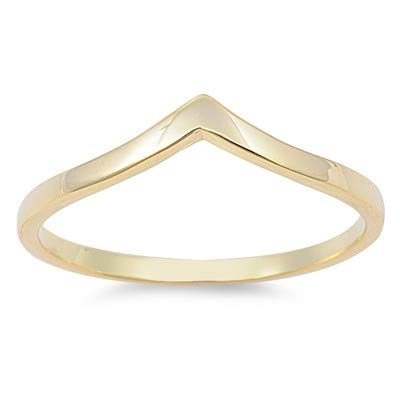 Glitzs Jewels 925 Sterling Silver Ring V Shaped, Yellow Gold Tone Cute Jewelry Gift for Women in Gift Box