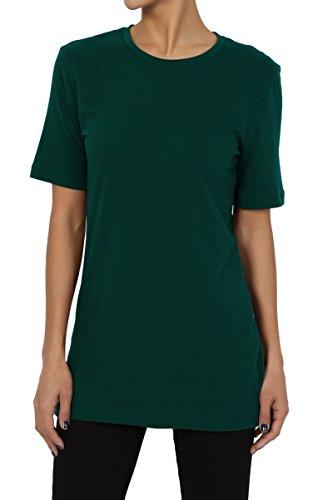 (TheMogan Women's Basic Cotton Crew Neck Short Sleeve Boyfriend T-Shirts Hunter Green)