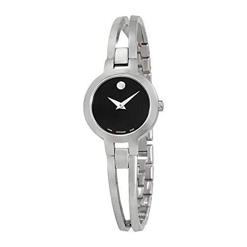 - Movado Amorosa Black Dial Stainless Steel Ladies Watch 0607153