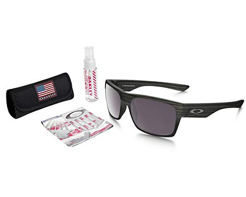 Oakley Twoface Sunglasses (Woodgrain Frame/Prizm Daily Polarized Lens) with USA Flag Lens Cleaning ()