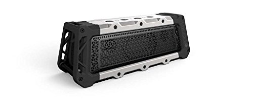 FUGOO Tough XL- Ultimate Rugged Waterproof Wireless Bluetooth Speaker 35 Hrs Battery Life with Built in Speakerphone (Silver/Black)